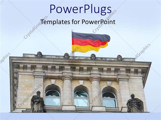 powerpoint template a building in the germany with a german flag on