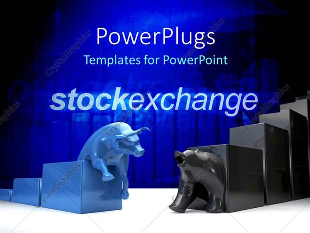 Powerpoint Template Bulls And Bear The Symbols Of Stock Exchange