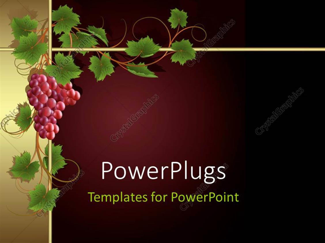 PowerPoint Template Displaying a Bunch of Grapes with Maroon Background