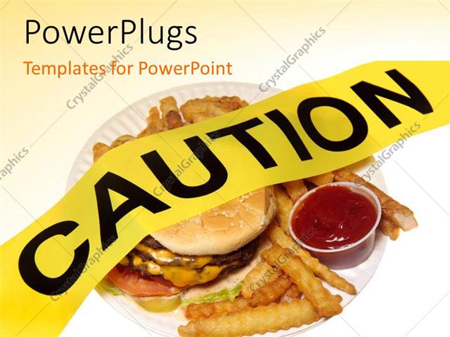 Powerpoint Template A Burger And Fries Not In A Healthy Form 6583