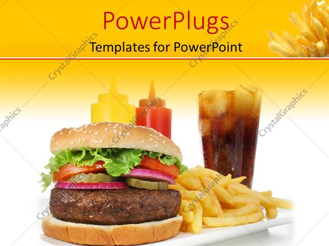 Powerpoint Template A Burger With A Lot Of Fries 4309