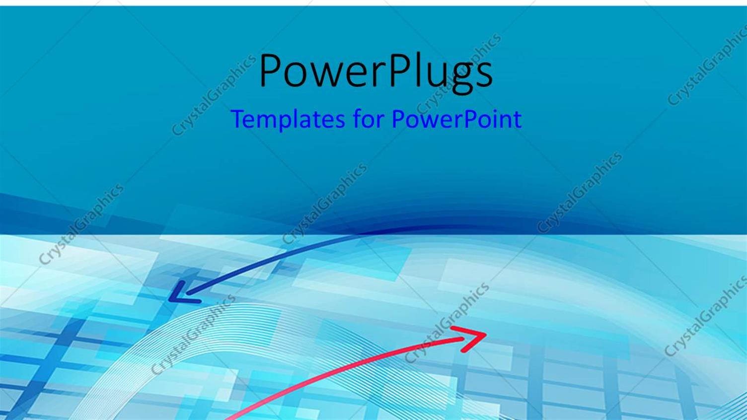 PowerPoint Template Displaying Two Pink and Blue Arrows on a Blue Background