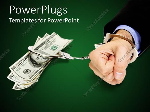 powerpoint template business man handcuffed to stack of us 100