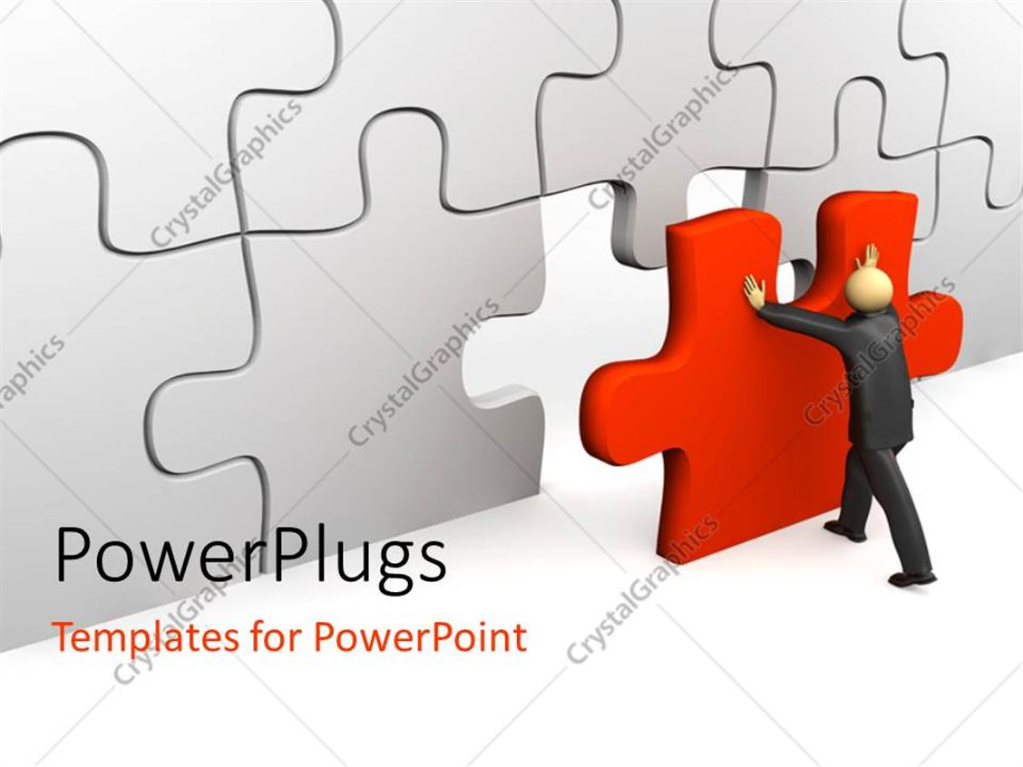 PowerPoint Template: business man pushing the last piece to puzzle ...