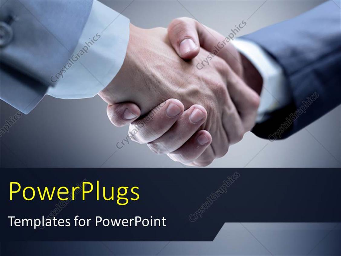PowerPoint Template Displaying Business Man Shaking Hands Over Grey Background