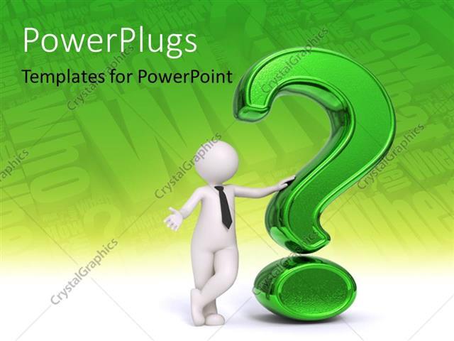 Powerpoint Template Business Man Standing Near A Green Question