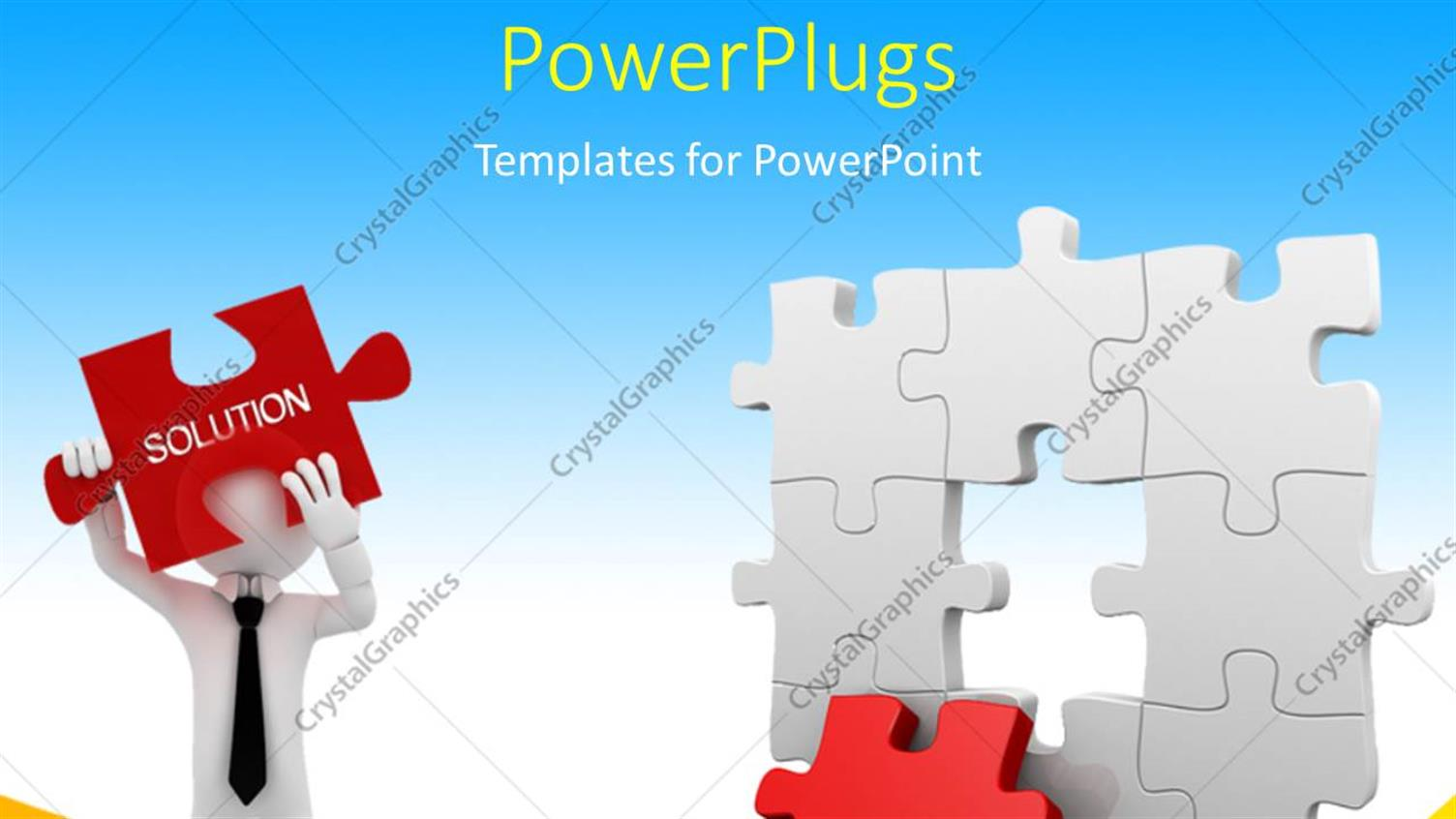 PowerPoint Template Displaying Business Man Trying to Find Missing Piece of Puzzle to Join the 3D Jigsaw