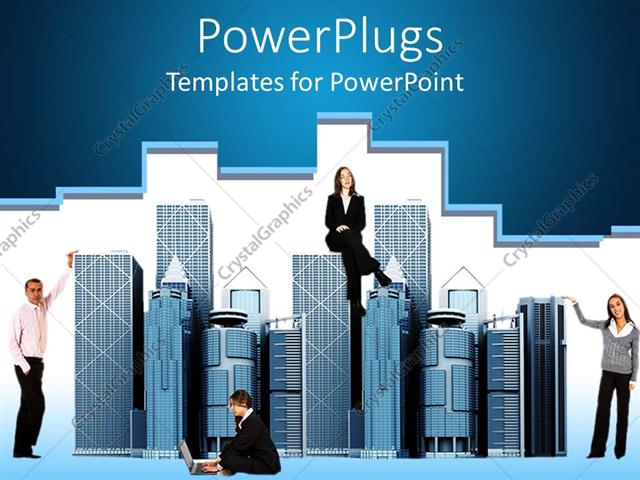 Powerpoint Template Business People Around Office Buildings Woman Man Business Suits Office Buildings 22416
