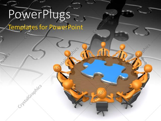 PowerPoint Template Displaying Business People Finding Solution Around the Round Table with Jigsaw