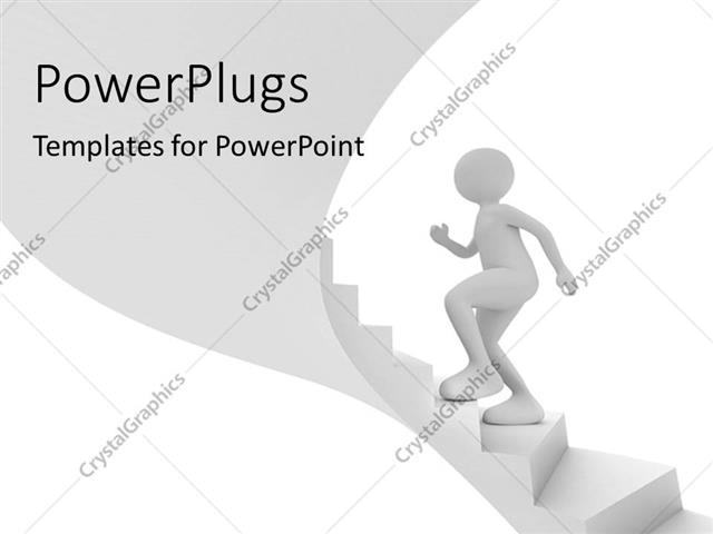 powerpoint template business person walks up stairs towards success