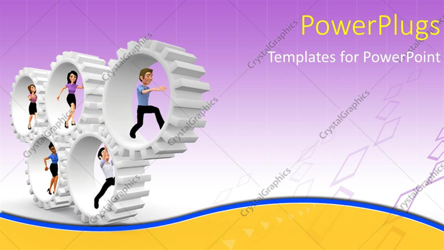 PowerPoint Template Displaying Five Human Cartoon Characters Running Inside White Gears