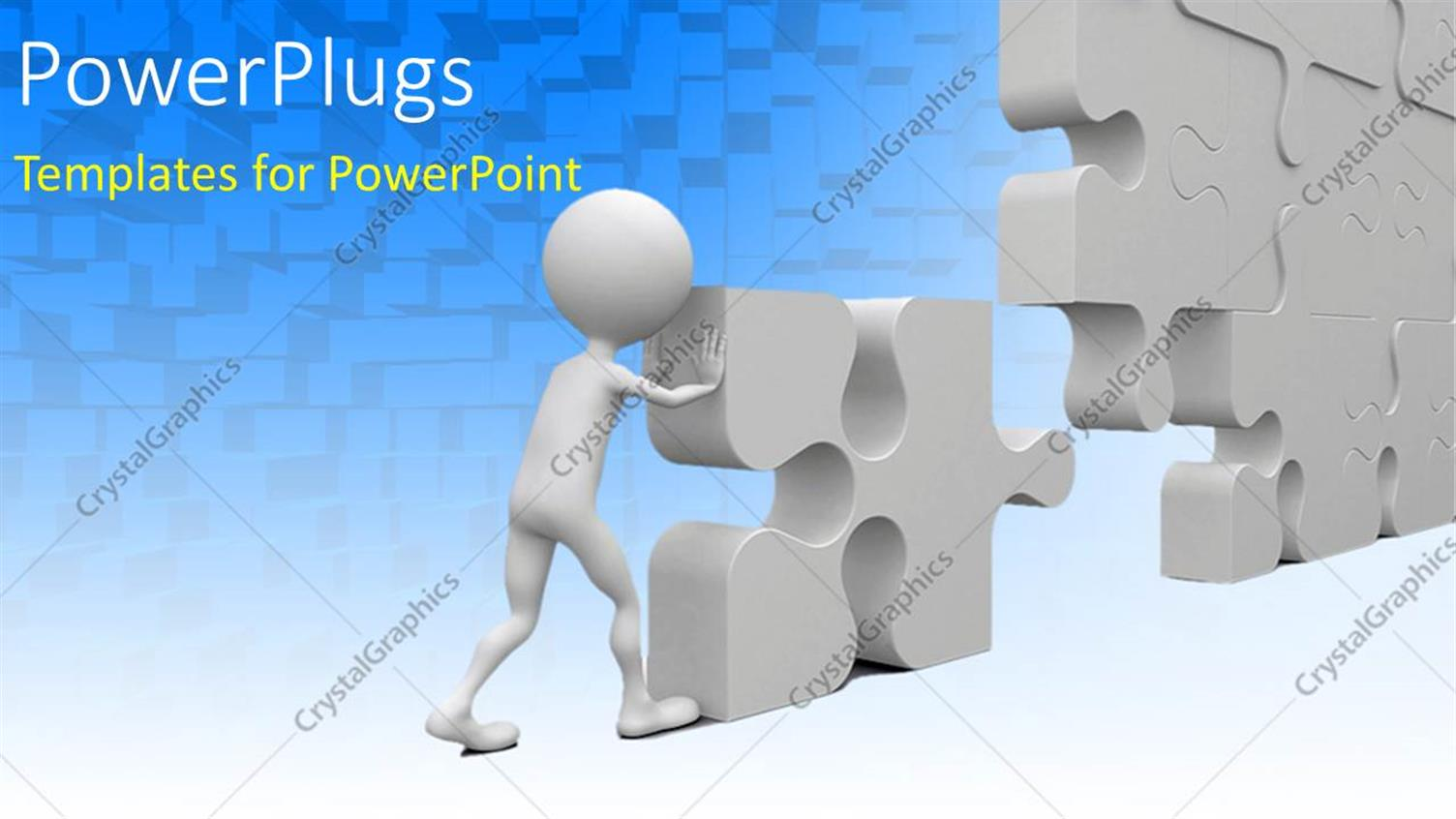 PowerPoint Template Displaying a White 3D Character Solving a large Puzzle Piece