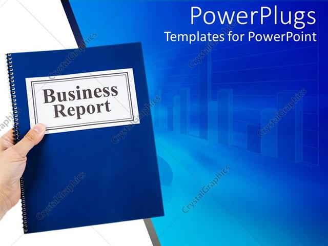 Powerpoint template business theme with hand holding blue notebook powerpoint template displaying business theme with hand holding blue notebook business report and chart toneelgroepblik Choice Image