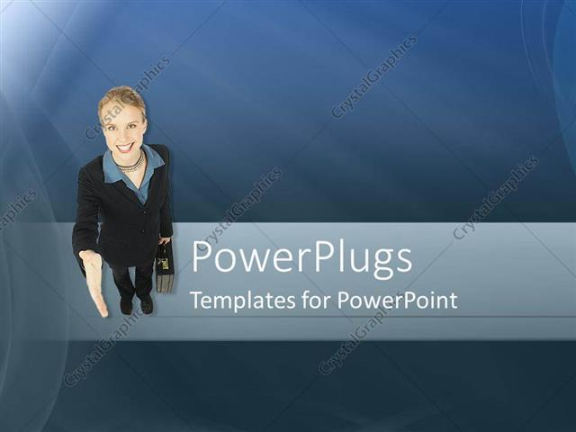 Powerpoint Template Business Woman Gestures For Handshake