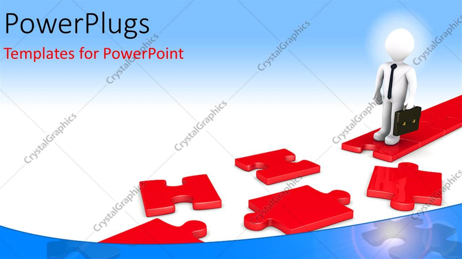 PowerPoint Template Displaying a Business Man Standing on a Red Colored Puzzle