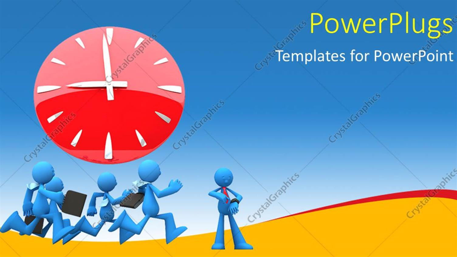 PowerPoint Template Displaying Four Blue Colored 3D Characters Running with a Clock Over them