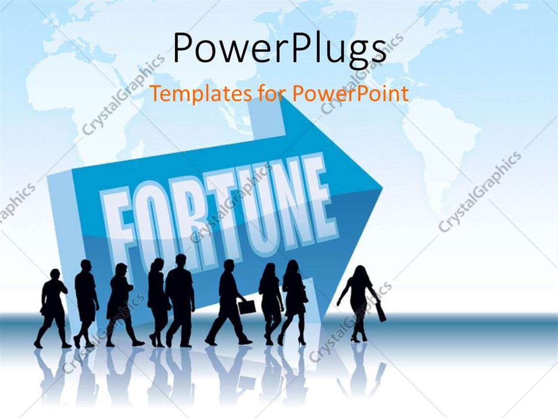 PowerPoint Template Displaying Businessmen Walking in the Direction of FORTUNE with World Map in Background