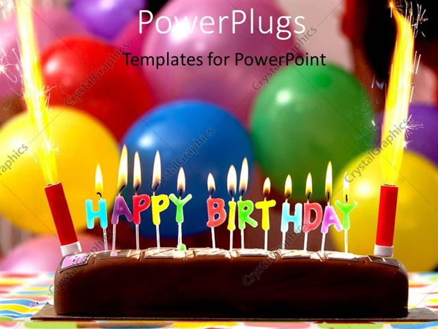 Birthday Cake Balloons Images ~ Powerpoint template a cake with a lot of balloons in the