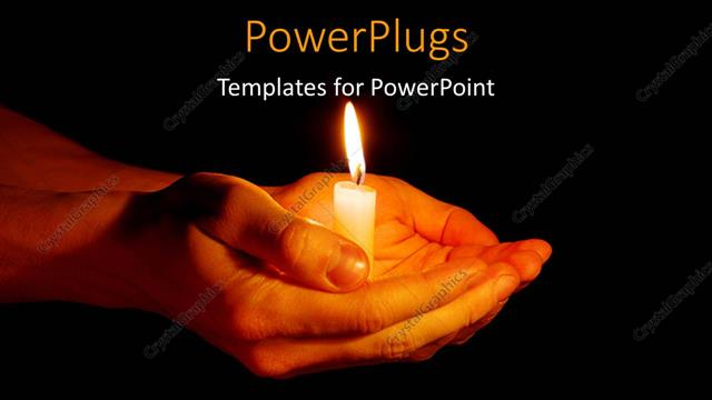 powerpoint template a pair of hands holding the candle 6375