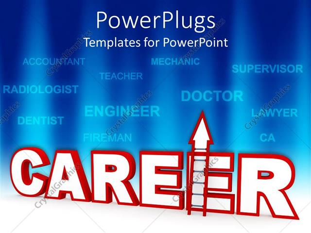 powerpoint template career ladder metaphor with job names on blue