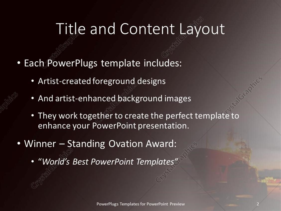 Powerpoint template a cargo ship sailing on a harbor at night 30010 powerpoint products templates secure standing ovation award toneelgroepblik Images
