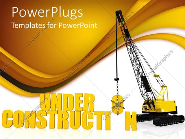 PowerPoint Template: caution under construction crane carrying an ...