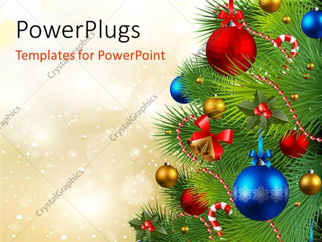 PowerPoint Template Displaying the Celebration of Christmas by Arranging the Christmas Tree