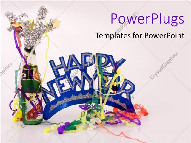 Powerpoint Template Celebration Happy New Year Party Decorations Fun On White Background 11307