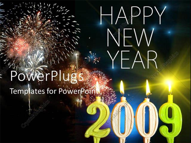 powerpoint template displaying the celebration of the new year