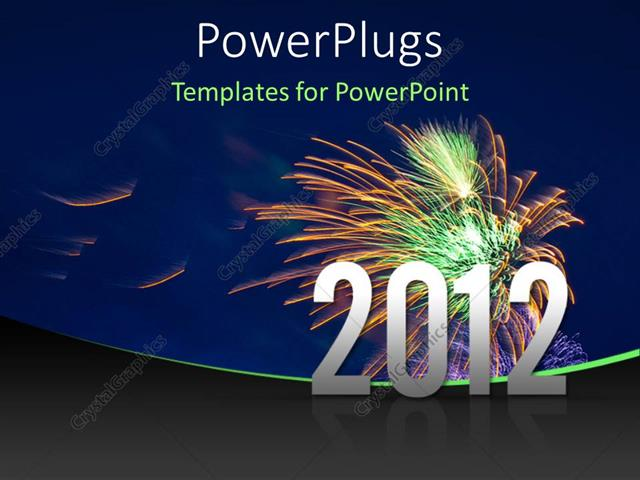 powerpoint template displaying the celebration of the new year with fireworks in the background
