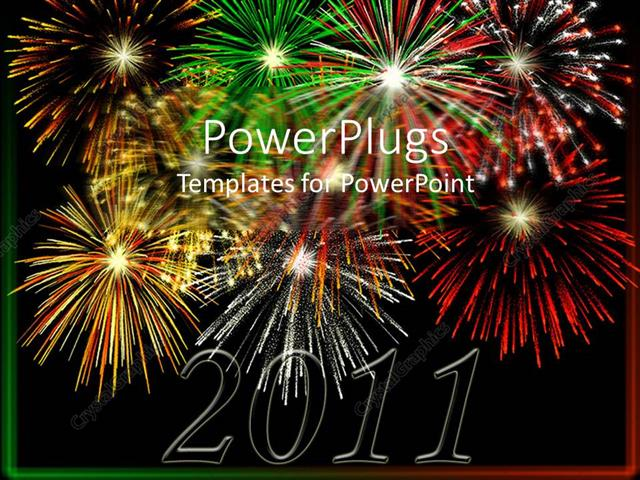 powerpoint template displaying the celebrations of happy new year