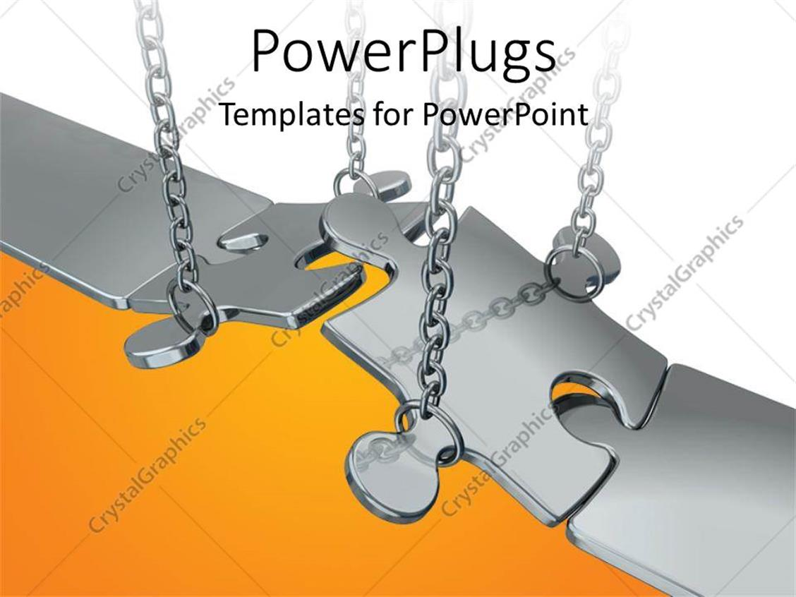 PowerPoint Template: Chain putting chrome jigsaw puzzle pieces in ...
