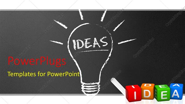 powerpoint template chalkboard blackboard with chalk and light bulb