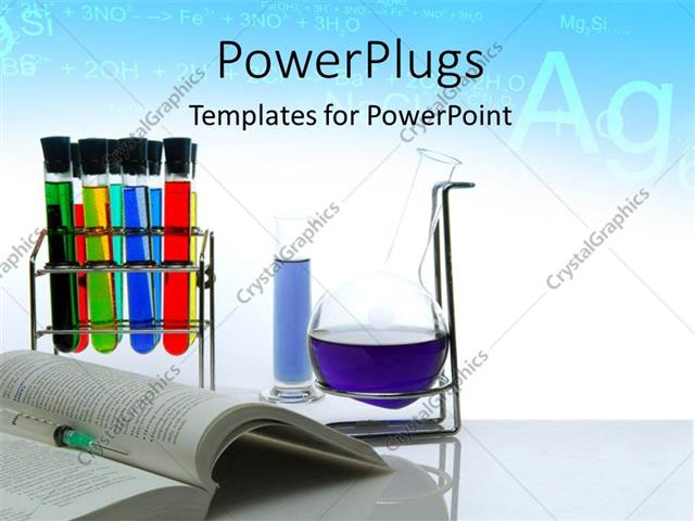PowerPoint Template: Chemistry theme with a book, flask and ...