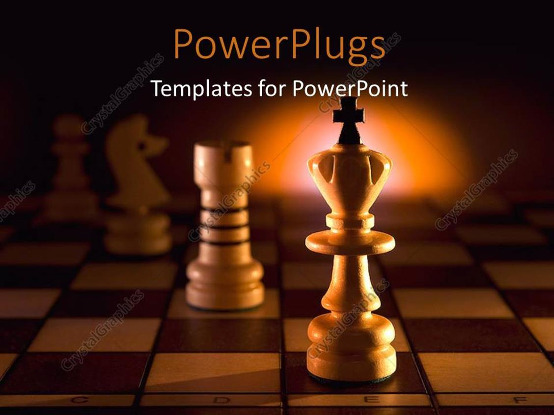 PowerPoint Template Displaying a Chess Piece with a Cross on it on a Chess Board