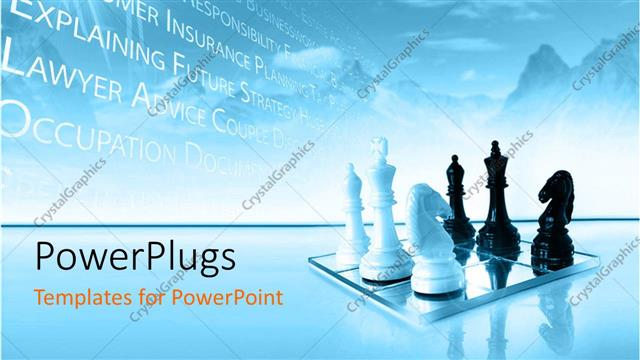 powerpoint template a chess board with chess pieces and bluish
