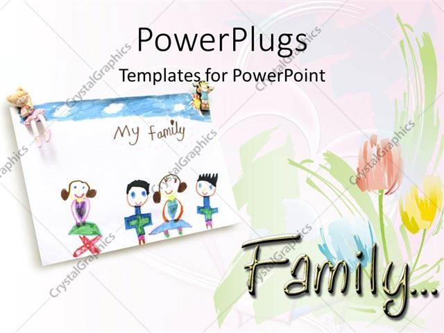 PowerPoint Template Child Drawing Of Loving Family And Roses On A - Powerpoint templates for children