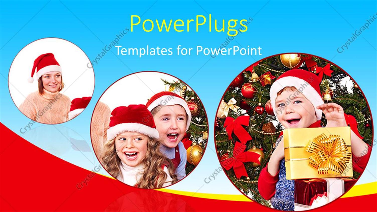 PowerPoint Template Displaying Three Tiles Showing Kids Wearing Christmas Caps Smiling Happily