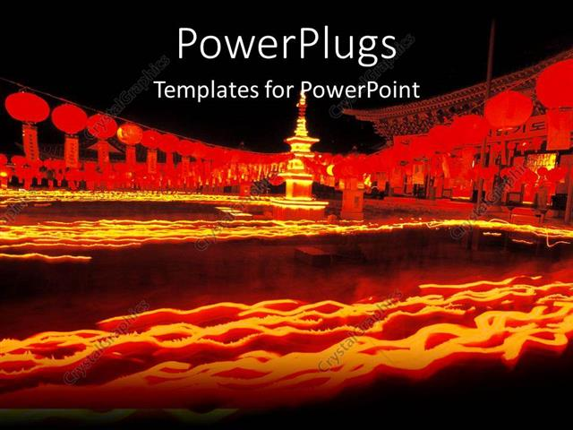 PowerPoint Template: Chinese oriental theme with oriental buildings ...