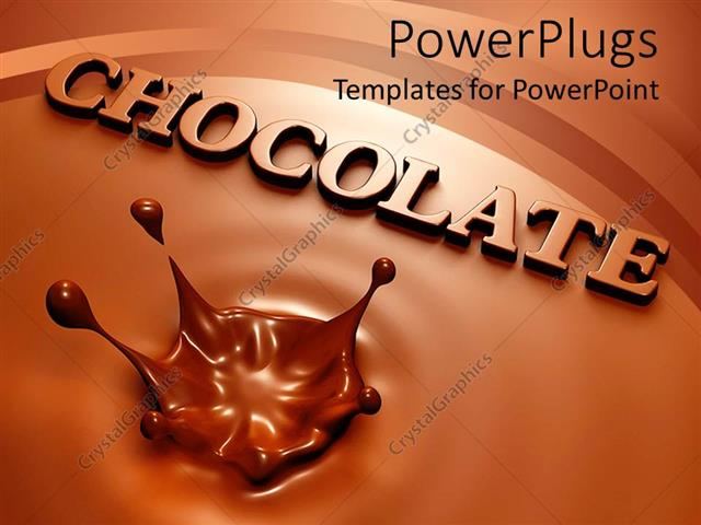 PowerPoint Template Displaying Chocolate Background With Splash And The Word Coming Out Of