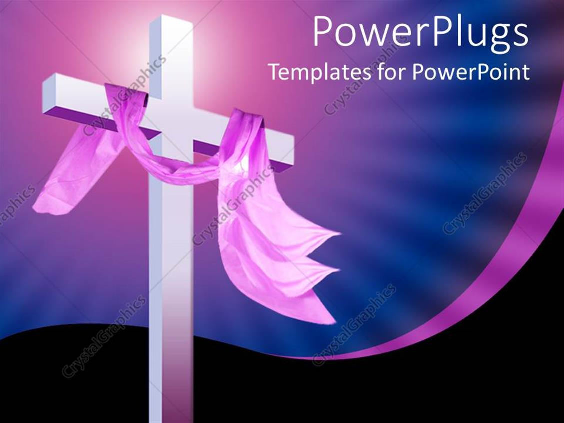 powerpoint template  christian religion theme with white cross and pink cloth  blue and black