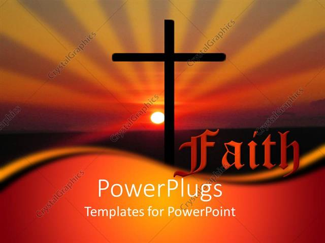 Powerpoint Template Christian Religious Faith Metaphor With Cross