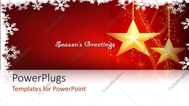 PowerPoint Template Displaying Two Shining Ywllow Starts with a Text that Spells Out the Words