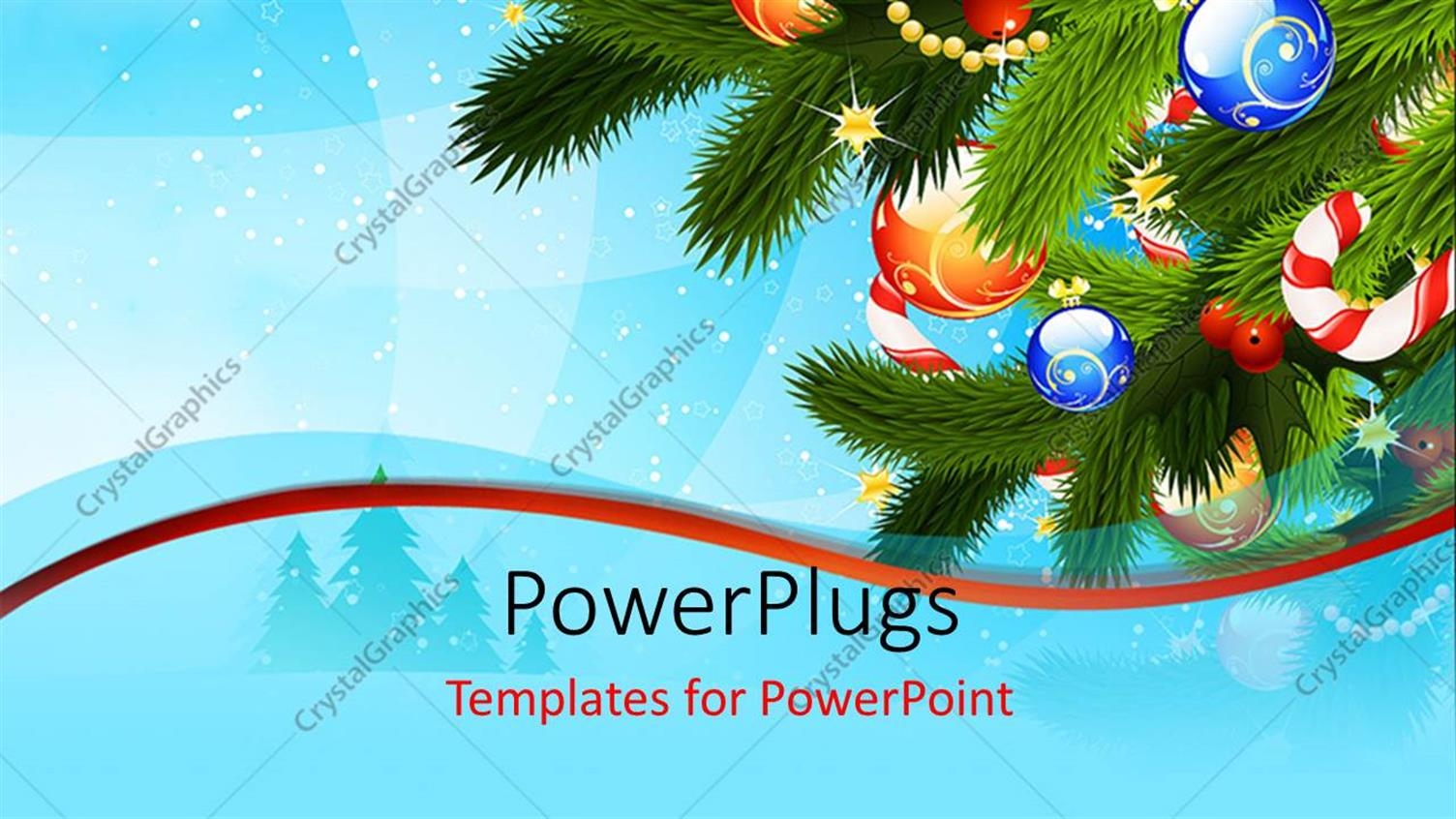 PowerPoint Template Displaying Christmas Depiction with Colorful Ornaments on Christmas Tree Over Blue Background