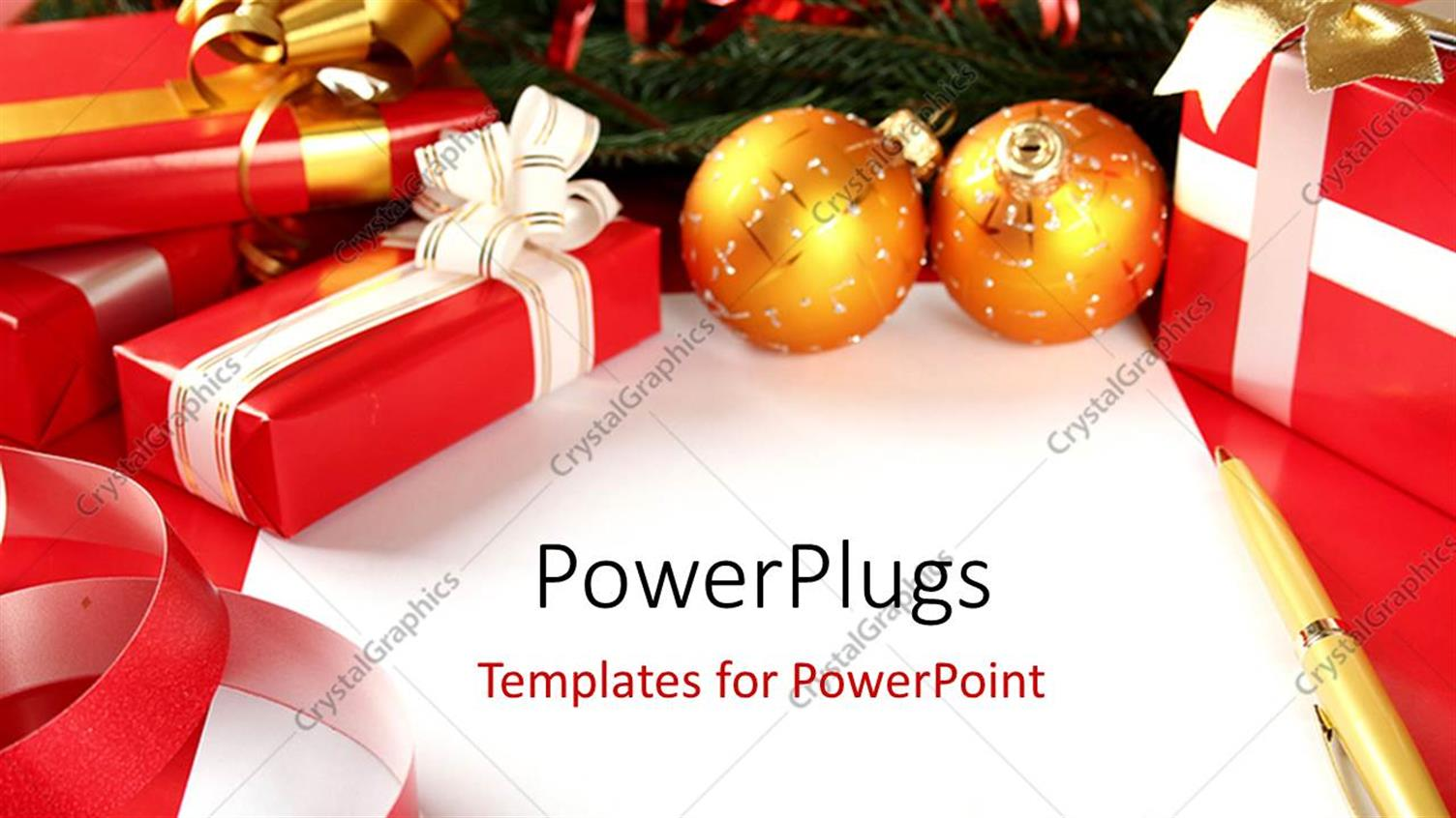 PowerPoint Template Displaying Gift Boxes and Gold Christmas Ornaments with Pen on Blank Christmas Card
