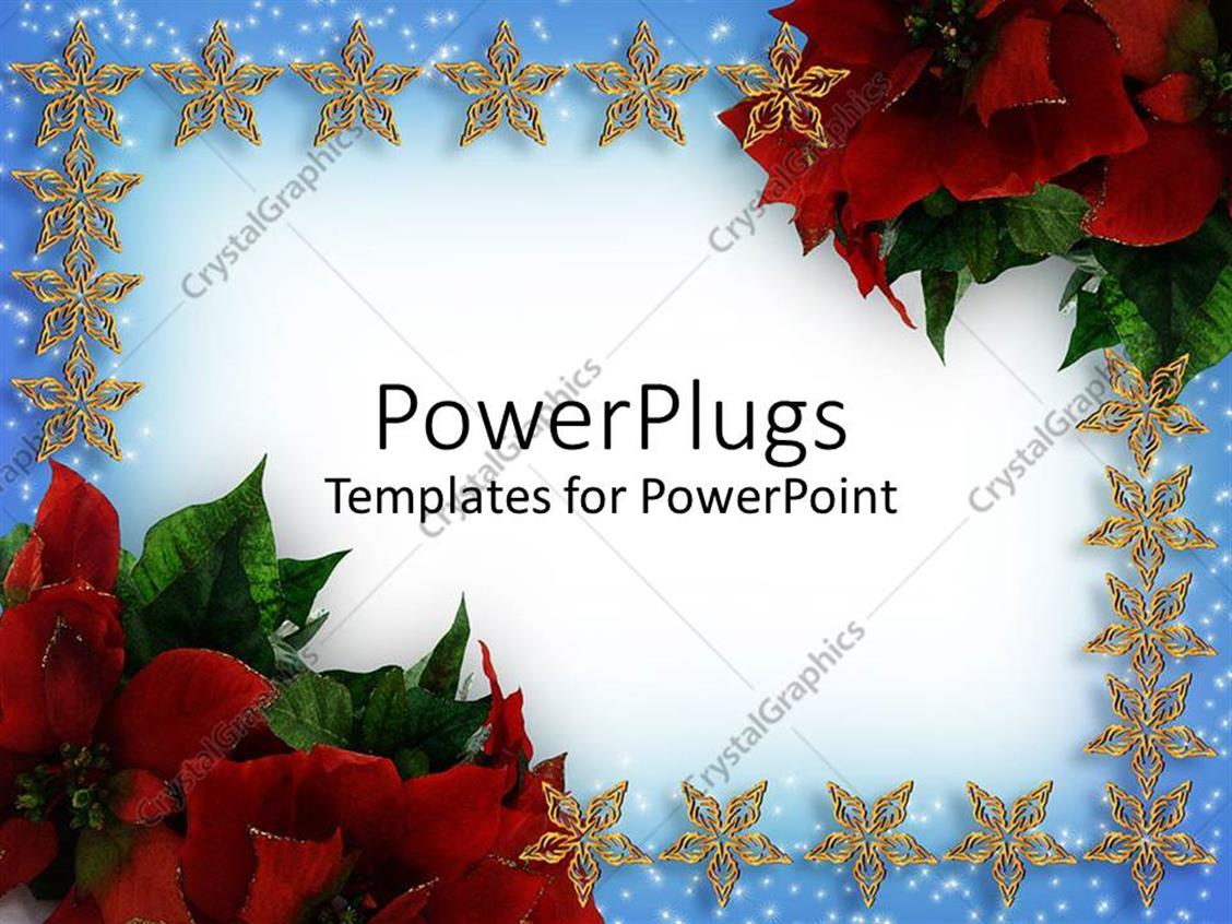 PowerPoint Template: Christmas card with stars and flowers (7110)