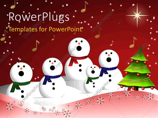 PowerPoint Template Displaying Christmas Depiction with Christmas Tree Decoration, Music Symbols and Choir at Carol