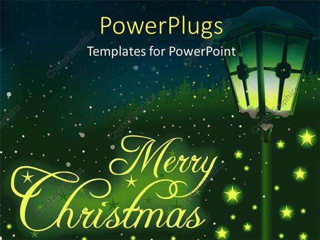 Powerpoint Template Christmas Depiction With Glowing Stars And Lamp