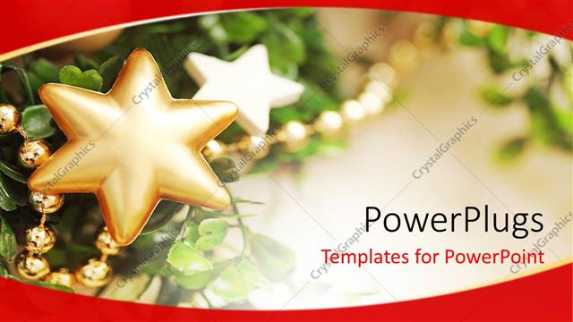 PowerPoint Template Displaying Shinning Old Cored Christmas Ornaments on a Christmas Tree