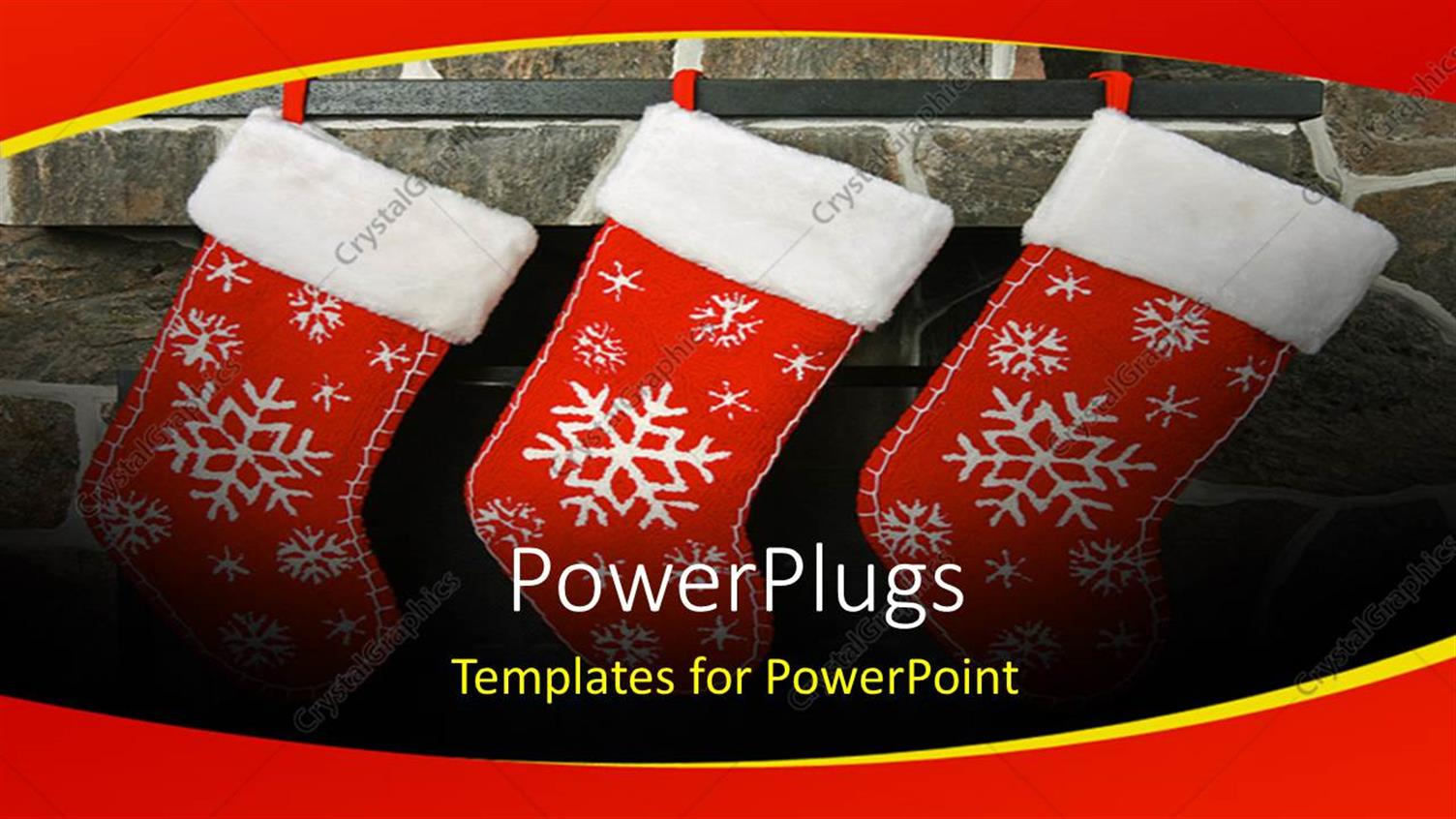 PowerPoint Template: three chirstmas socks with colorful white ...